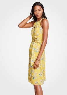 Ann Taylor Petite Tropical Toile Halter Tie Waist Flare Dress