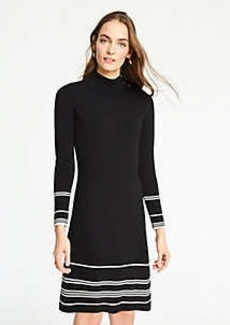Ann Taylor Petite Stripe Button Turtleneck Sweater Dress
