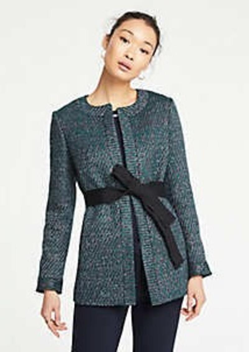 Ann Taylor Petite Belted Tweed Jacket