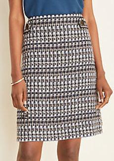 Ann Taylor Petite Tweed Button Tab A-Line Skirt