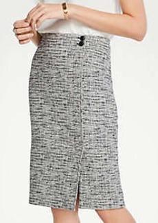 Ann Taylor Petite Tweed Button Waist Pencil Skirt