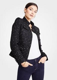 Ann Taylor Petite Tweed Military Jacket
