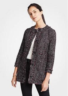 Ann Taylor Petite Tweed Ruffle Collar Jacket