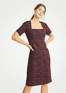 Ann Taylor Petite Tweed Square Neck Sheath Dress