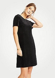 Ann Taylor Petite Velvet Dot T-Shirt Shift Dress