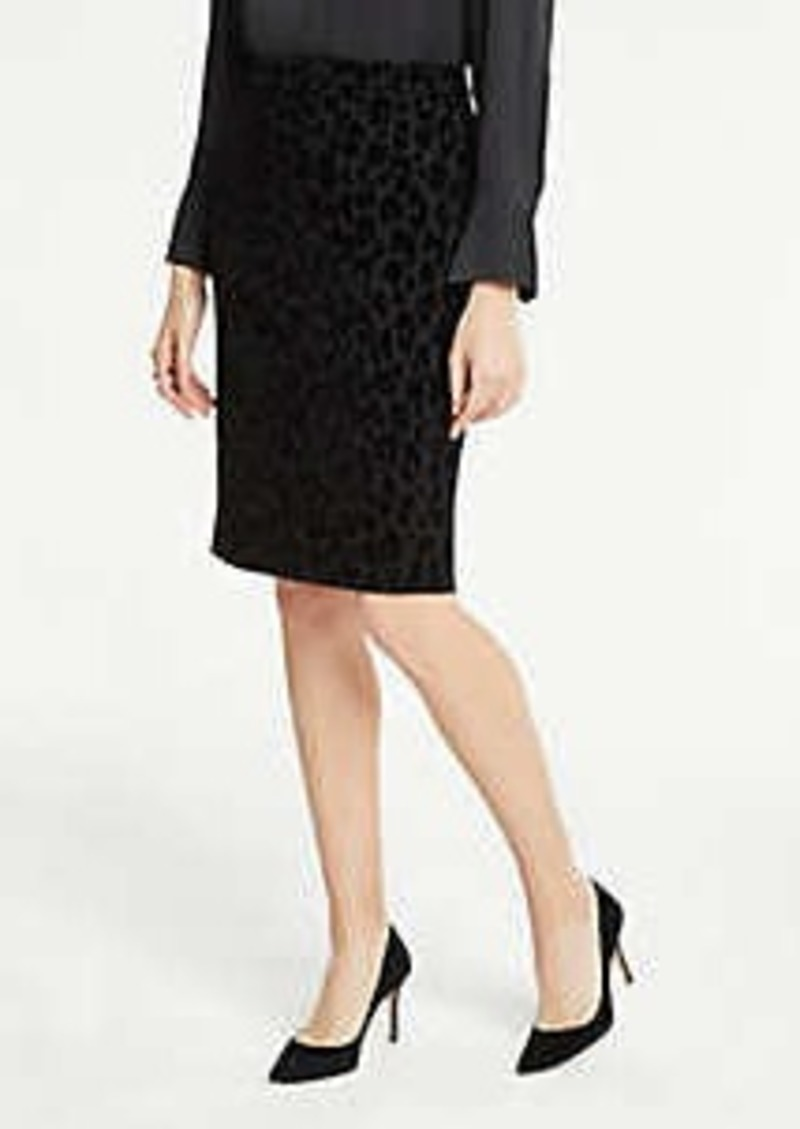 Ann Taylor Petite Velvet Spotted Pencil Skirt
