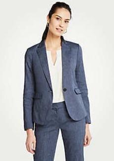Ann Taylor Petite Washed Linen One Button Blazer