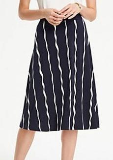 Ann Taylor Petite Wavy Stripes Matte Jersey Flare Skirt