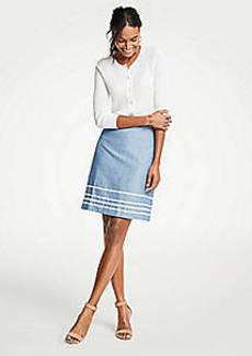 Ann Taylor Petite Wavy Trim Chambray Skirt