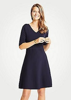 Ann Taylor Petite Wide V-Neck Flare Sweater Dress