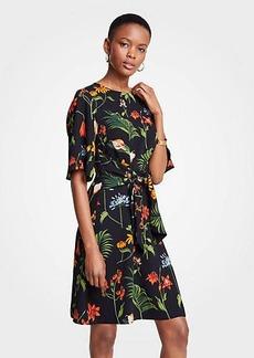 Ann Taylor Petite Wild Botanical Tie Front Flare Dress