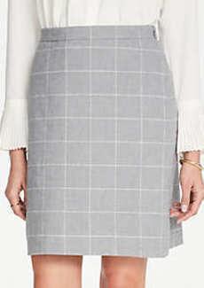 Ann Taylor Petite Windowpane A-Line Skirt