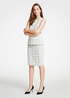 Ann Taylor Petite Windowpane Knit Pencil Skirt