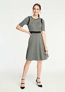 Ann Taylor Petite Plaid Knit Flare Dress
