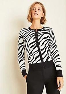 Ann Taylor Petite Zebra Print Ann Cardigan