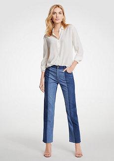 Ann Taylor Pieced Straight Crop Jeans