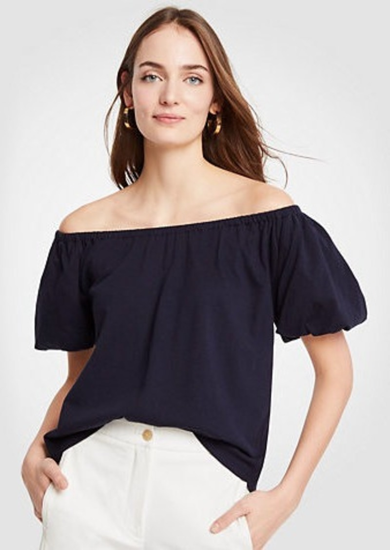Ann Taylor Pima Cotton Off The Shoulder Tee