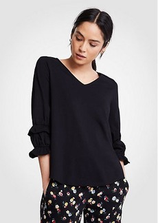 Ann Taylor Pima Cotton Ruffle Sleeve Top
