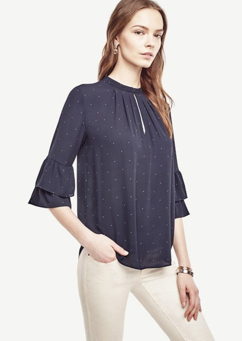 Ann Taylor Pindot Tiered Ruffle Sleeve Blouse