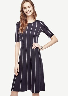 Pinstripe Flare Sweater Dress
