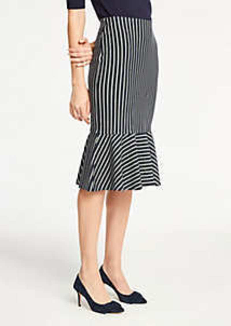 Ann Taylor Pinstripe Flounce Knit Pencil Skirt