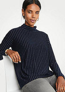 Ann Taylor Pinstripe Mock Neck Knit Top