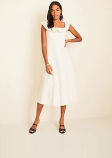 Ann Taylor Pinstripe Ruffle Flare Dress