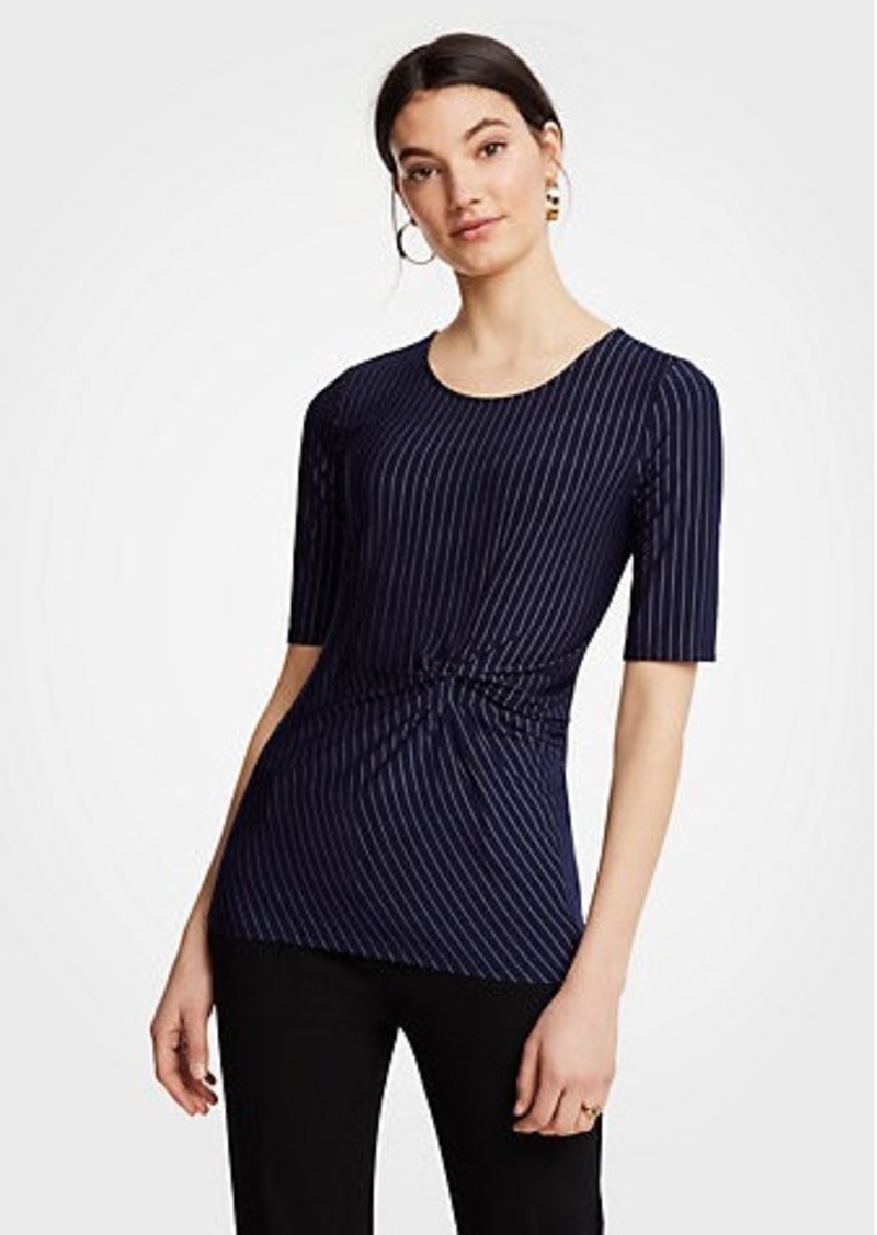 Ann Taylor Pinstripe Twisted Front Top