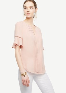 Pintucked Flutter Sleeve Top
