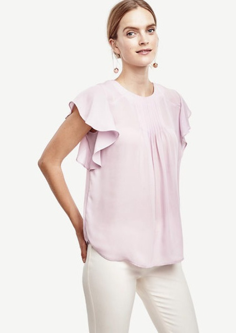 Ann Taylor Pintucked Flutter Top
