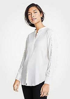 Ann Taylor Pintucked Ruffle Sleeve Blouse