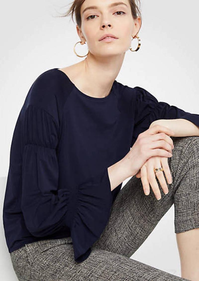 Ann Taylor Pintucked Sleeve Top