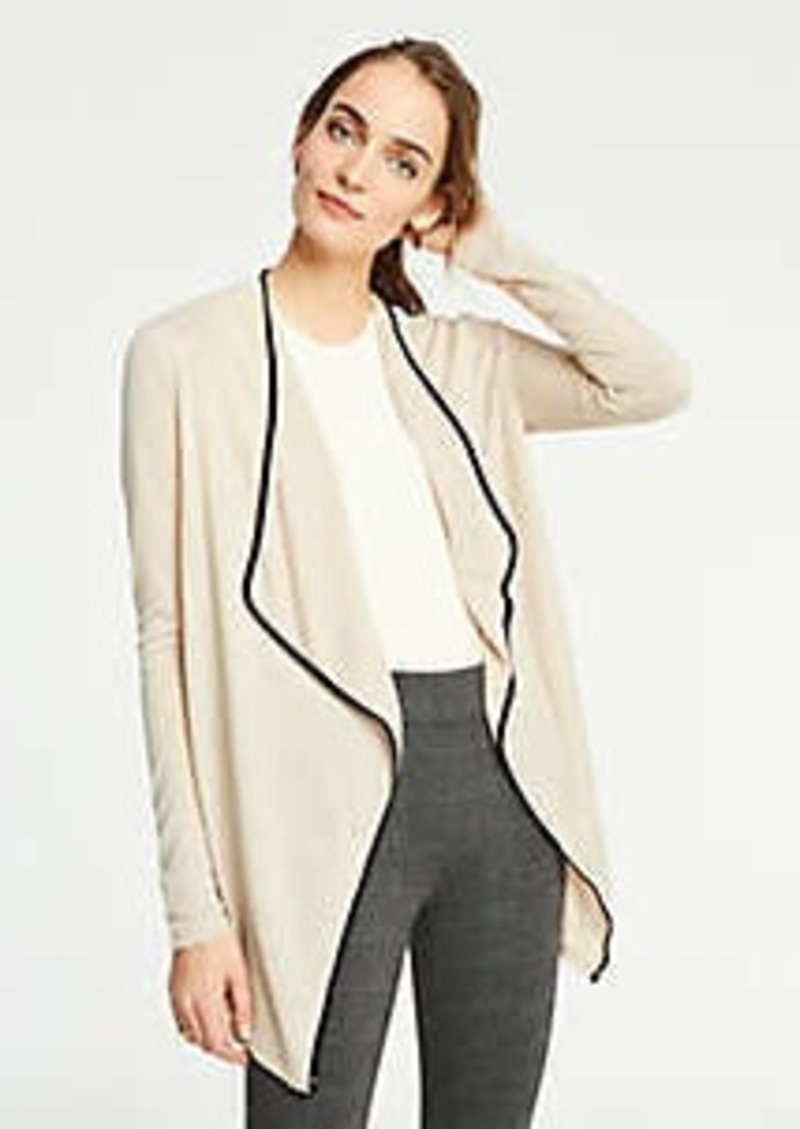 Ann Taylor Piped Draped Open Cardigan