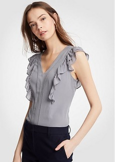 Ann Taylor Piped Flutter Sleeve Shell
