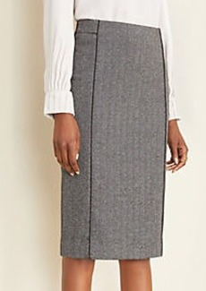 Ann Taylor Piped Herringbone Pencil Skirt