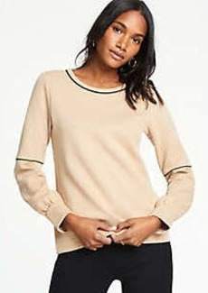 Ann Taylor Piped Lantern Sleeve Sweatshirt