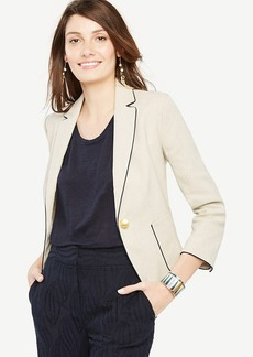 Ann Taylor Piped Linen Blend Blazer
