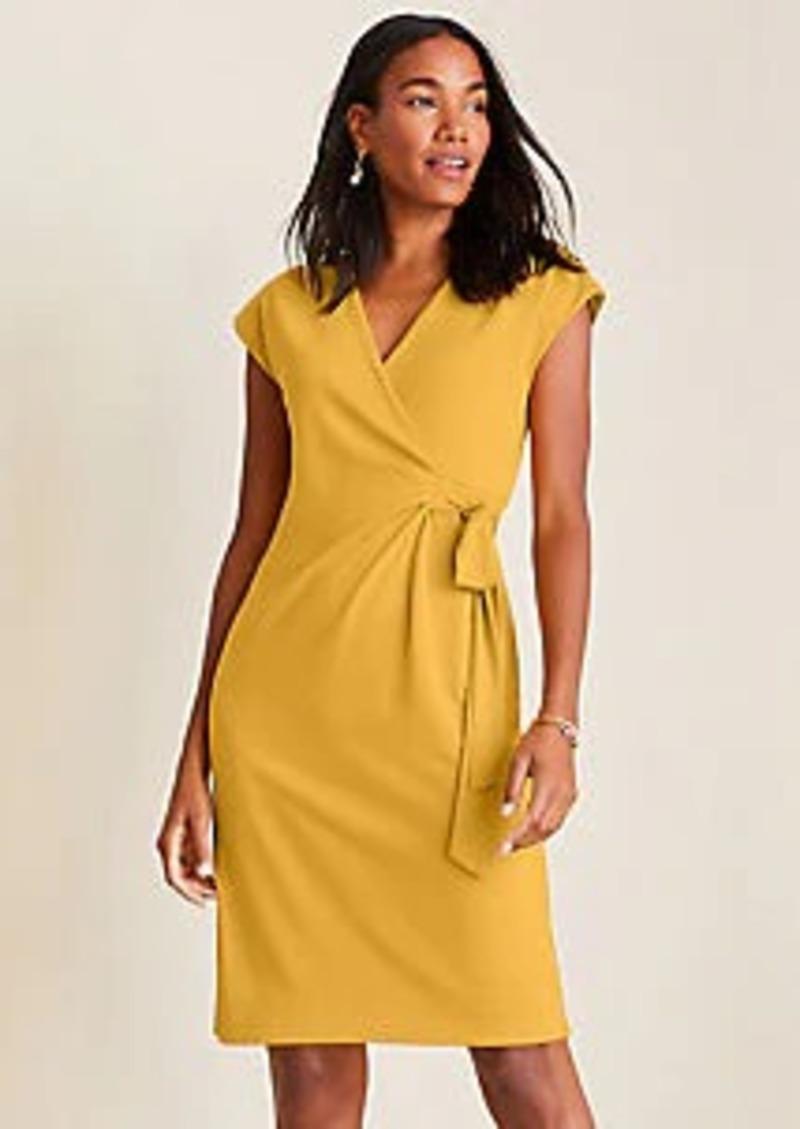 Ann Taylor Piped Matte Jersey Wrap Dress