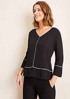 Ann Taylor Piped Mixed Media V-Neck Top