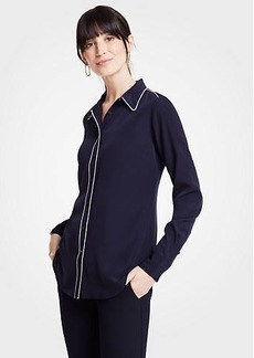 Ann Taylor Piped Silky Perfect Shirt