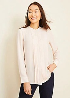 Ann Taylor Piped Pleated Nehru Collar Blouse