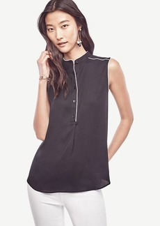 Ann Taylor Piped Sleeveless Blouse