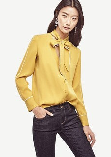 Piped Tie Neck Blouse