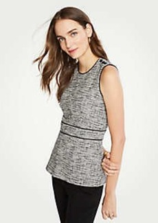 Ann Taylor Piped Tweed Peplum Top