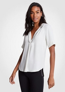 Ann Taylor Piped V-Neck Tee