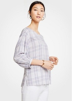 Ann Taylor Plaid Balloon Sleeve Top