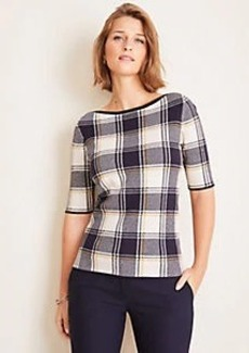 Ann Taylor Plaid Boatneck Sweater