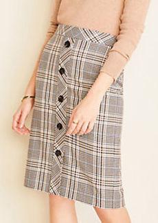 Ann Taylor Plaid Button Front Pencil Skirt