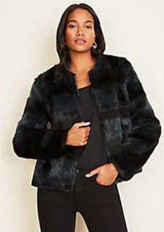 Ann Taylor Plaid Faux Fur Jacket