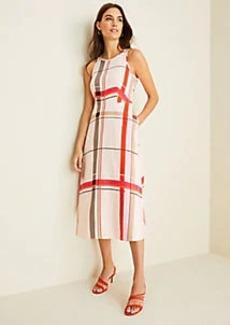 Ann Taylor Plaid Flare Pocket Dress